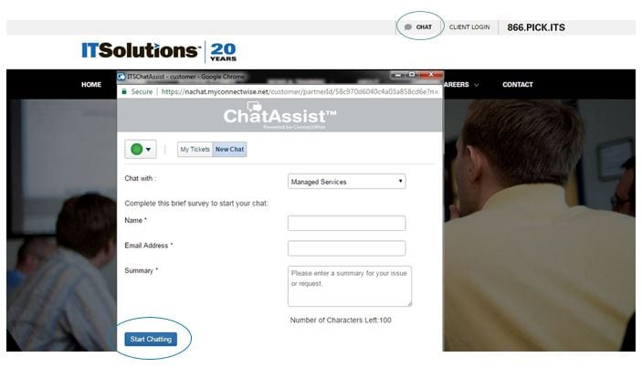 New Online, Live Chat Service Now Available